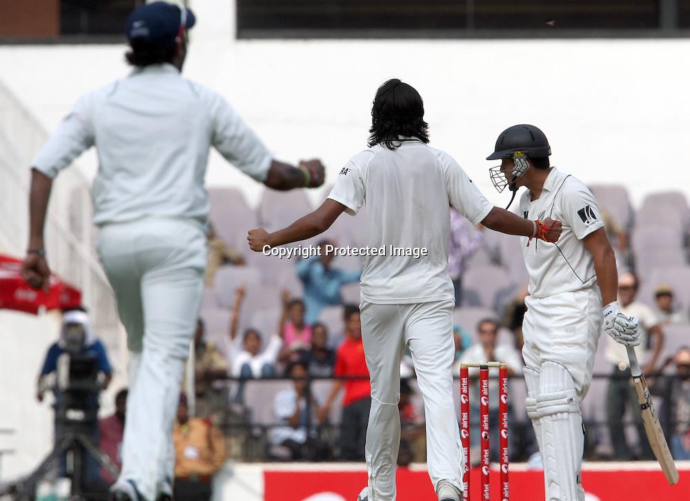 Indian bowler Ishant Sharma Celebrates New Zealand batsman Rosse Taylor wicket during 3rd test match India vs New Zealand  Played at Vidarbha Cricket Association Stadium, Jamtha, Nagpur, 20, November 2010 (5-day match)
