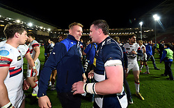 Mitch Eadie of Bristol Rugby celebrates with Bristol Rugby Number 8 James Phillips  - Mandatory byline: Joe Meredith/JMP - 25/05/2016 - RUGBY UNION - Ashton Gate Stadium - Bristol, England - Bristol Rugby v Doncaster Knights - Greene King IPA Championship Play Off FINAL 2nd Leg.