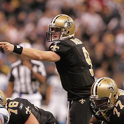 2008 December, 28: New Orleans Saints quarterback Drew Brees (9) under center during a 33-31 week 17 loss by the New Orleans Saints to NFC South divisional rivals the Carolina Panthers at the Louisiana Superdome in New Orleans, LA.