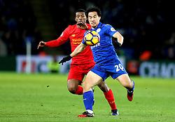 Shinji Okazaki of Leicester City is put under pressure by Georginio Wijnaldum of Liverpool - Mandatory by-line: Robbie Stephenson/JMP - 27/02/2017 - FOOTBALL - King Power Stadium - Leicester, England - Leicester City v Liverpool - Premier League
