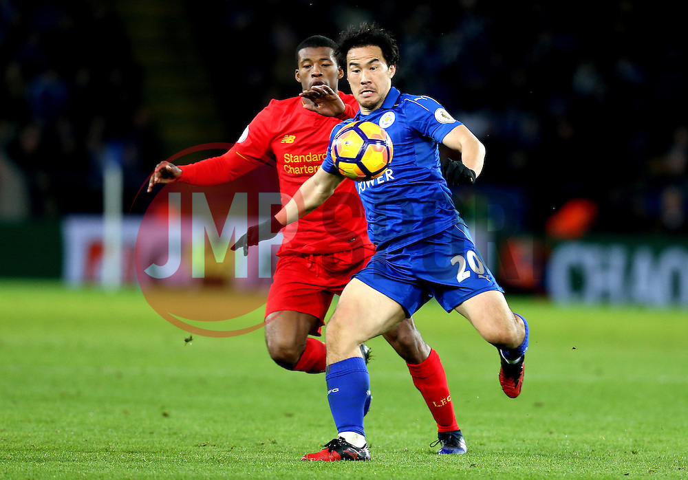 Shinji Okazaki of Leicester City is put under pressure by Georginio Wijnaldum of Liverpool - Mandatory by-line: Robbie Stephenson/JMP - 27/02/2017 - FOOTBALL - King Power Stadium - Leicester, England - Leicester City v Liverpool - Premier League