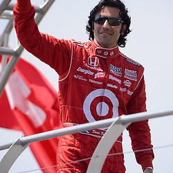 8 August, 2010; Target Chip Ganassi Racing's DARIO FRANCHITTI waves to fans during driver presentations before the Izod IndyCar Series Honda Indy 200 at the Mid-Ohio Sports Car Course in Lexington, Ohio. Franchitti went on to win the race..Mandatory Credit: Will Schneekloth / Southcreek Global