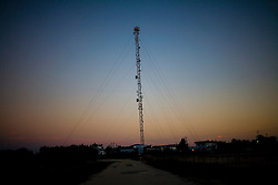 A Belize Telemedia Limited Tower outside one of their offices in Belize City, Belize.
