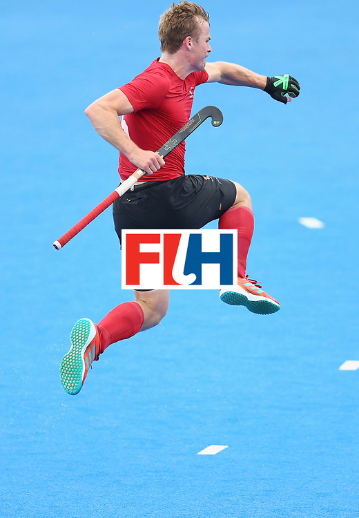 LONDON, ENGLAND - JUNE 25:  Gordan Johnston of Canada celebrates scoring their teams third goal during the 5th/6th place match between India and Canada on day nine of the Hero Hockey World League Semi-Final at Lee Valley Hockey and Tennis Centre on June 25, 2017 in London, England.  (Photo by Steve Bardens/Getty Images)
