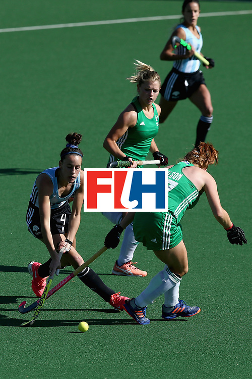 JOHANNESBURG, SOUTH AFRICA - JULY 18: Eugenia Trinchinetti of Argentina attempts to get past Zoe Wilson of Ireland during the Quarter Final match between Argentina and Ireland during the FIH Hockey World League - Women's Semi Finals on July 18, 2017 in Johannesburg, South Africa.  (Photo by Jan Kruger/Getty Images for FIH)