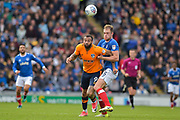 Oldham Athletic Forward, Craig Davies (9) and Portsmouth Defender, Matt Clarke (5) battle for the ball during the EFL Sky Bet League 1 match between Portsmouth and Oldham Athletic at Fratton Park, Portsmouth, England on 30 September 2017. Photo by Adam Rivers.