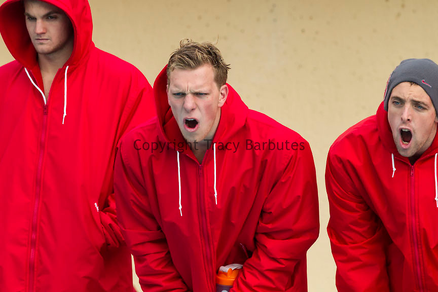 Stanford Swimming and Diving team members yell for a teammate