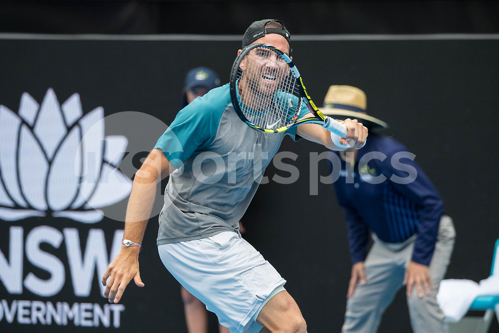 Adrian Mannarino of France playing Fabio Fognini of Italy in the Quarter Finals during the Sydney International 2018 at Sydney Olympic Park Tennis Centre, Sydney, Australia on 11 January 2018. Photo by Peter Dovgan.