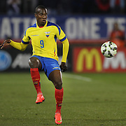 Cristian Penilla, Ecuador, in action during the USA Vs Ecuador International match at Rentschler Field, Hartford, Connecticut. USA. 10th October 2014. Photo Tim Clayton
