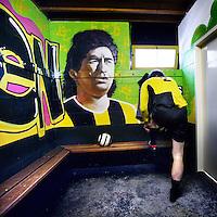 Nederland, Amsterdam , 24 februari 2013.<br /> Kleedkamermuurschilderingen bij voetbalclub DVVA in Sportpark Drieburg.<br /> Foto:Jean-Pierre Jans