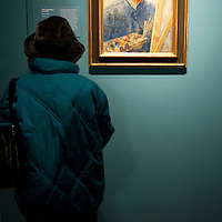 London, England January 19th  A visitor stand in front of the Self Portrait by Van Gogh  at the Royal Academy of Art in London on January 19th 2010.  The real Van Goh the artist and his letters opens at The Royal Academy of Arts in London...***Agreed Fee's Apply To All Image Use***.Marco Secchi /Xianpix. tel +44 (0) 771 7298571. e-mail ms@msecchi.com .www.marcosecchi.com