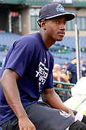 July 5, 2017 - Trenton, New Jersey, U.S - JORGE MATEO of the double-A Yankees' affiliate Trenton Thunder during a brief break between fielding and batting practice before the game here at ARM & HAMMER Park tonight vs. the Fightin Phils. (Credit Image: © Staton Rabin via ZUMA Wire)