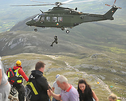 The Air Corp helicopter assisting the Mountain rescue crews on Croagh Patrick yesterday.<br /> Pic Conor McKeown