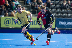 Bowdon's Simon Egerton comes away with the ball. Bowdon v Team Bath Buccaneers - Now: Pensions Finals Weekend, Lee Valley Hockey & Tennis Centre, London, UK on 11 April 2015. Photo: Simon Parker