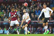 Daley Blind of Manchester United on the ball during the Barclays Premier League match between Aston Villa and Manchester United at Villa Park, Birmingham, England on 14 August 2015. Photo by Phil Duncan.