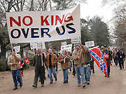 A group of white supremists protest and  march to Jena High School on the Martin Luther King Jr. holiday in Jena, La., Monday, Jan. 21, 2008. The protest was organized by the self-described 'pro-majority' Nationalist Movement of Learned, Mississippi, lead by Richard Barrett, and was being held in opposition to the six black teenagers who were arrested in the beating of a white classmate in December 2006, and the King holiday. The protest drew about 50 participants and 100 counter-demonstrators to Jena.(Photo/© Suzi Altman) The Rankin County Sheriff's Department has confirmed that the body of white supremacist and attorney Richard Barrett, 67, was found in his Pearl home today, apparently the victim of a homicide.