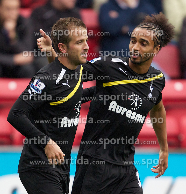 23.10.2011, Ewood Park, Blackburn, ENG, PL, Blackburn Rovers FC v Tottenham Hotspur FC, im Bild Tottenham's Rafael Van Der Vaart celebrates scoring the first goal against Blackburn Rovers with team-mate Benoit Assou-Ekotto during the Premiership match at Ewood Park. EXPA Pictures © 2011, PhotoCredit: EXPA/ Propaganda Photo/ Vegard Grott +++++ ATTENTION - OUT OF ENGLAND/GBR+++++