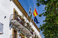 Town Hall, Marbella, Spain with National, Provincial & European flags, October, 2019, 201910041696<br />
