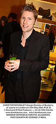 CHRISTOPHER BAILEY Design Director of Burberry, at a party in London on 25th May 2004.PUK 35