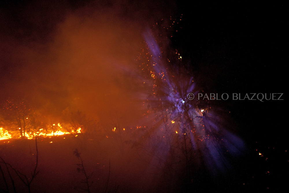 A volunteer firefighter torch's light filters through trees during a forest fire near El Cubillo de Uceda, on August 11, 2012 in Guadalajara, Spain. During a heat wave dozens of forest fires have appeared in Spain, three of them at National Parks, like Teide, Doñana or Cabañeros, and thousands of people had to be evacuated at La Gomera and Tenerife, in the Canary Islands.