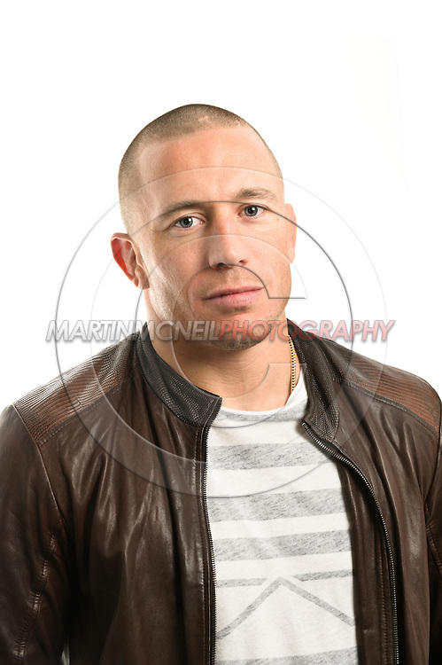 A portrait of mixed martial arts athlete and UFC welterweight champion Georges St. Pierre