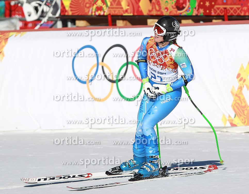 12.02.2014, Rosa Khutor Alpine Resort, Krasnaya Polyana, RUS, Sochi, 2014, Abfahrt, Damen, im Bild Goldmedaillen Gewinnerin Tina Maze (SLO) // Olympic Champion Tina Maze of Slovenia during the ladies downhill to the Olympic Winter Games 'Sochi 2014' at the Rosa Khutor Alpine Resort, Krasnaya Polyana, Russia on 2014/02/12. EXPA Pictures &copy; 2014, PhotoCredit: EXPA/ Stefan Matzke <br /> <br />  *****ATTENTION - OUT of GER*****