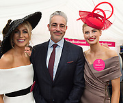 Repro Free.  Baz Ashmawy guest judge with Finalists Mary Lee Gort and Katie Geoghegan Oughterard at the g Hotel Best Dressed competitions at the Galway Races. Photo: Andrew Downes, xposure