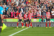 Sheffield United players celebrate a goal which was later disallowed by VAR during the Premier League match between Sheffield United and Southampton at Bramall Lane, Sheffield, England on 14 September 2019.