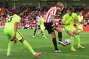 Harry Pell and Liam Nolan during the Vanarama National League match between Cheltenham Town and Southport at Whaddon Road, Cheltenham, England on 15 August 2015. Photo by Antony Thompson.