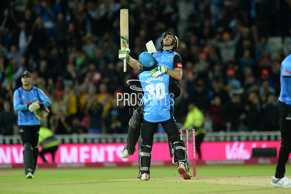 Ben Cox and Ed Barnard of Worcestershire Rapids celebrates winning the final of the Vitality T20 Finals Day 2018 match between Worcestershire Rapids and Sussex Sharks at Edgbaston, Birmingham, United Kingdom on 15 September 2018.