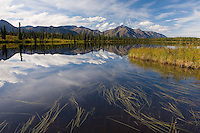 Talkeetna Mountains reflected in lake along the Denali Highway Alaska