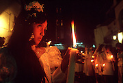 MEXICO, FESTIVALS, SEMANA SANTA Taxco, candlelit procession from Cathedral