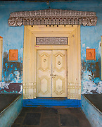 Entrance to a home in Nagore. Tamil Nadu. South India.