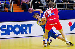Jure Dolenec of Slovenia faulted by Kari Kristjan Kristansson of Iceland during handball match between Iceland and Slovenia in  3rd Round of Preliminary Round of 10th EHF European Handball Championship Serbia 2012, on January 20, 2012 in Millennium Center, Vrsac, Serbia. Slovenia defeated Iceland 34-32. (Photo By Vid Ponikvar / Sportida.com)