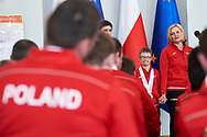 Warsaw, Poland - 2017 March 31: Coach trainer Roza Banasik - Zaranska with Special Olympics athletes speaks while Meeting with the First Lady Agata Kornhauser-Duda at Polish President's Palace on March 31, 2017 in Warsaw, Poland.<br /> <br /> Mandatory credit:<br /> Photo by © Adam Nurkiewicz / Mediasport<br /> <br /> Adam Nurkiewicz declares that he has no rights to the image of people at the photographs of his authorship.<br /> <br /> Picture also available in RAW (NEF) or TIFF format on special request.<br /> <br /> Any editorial, commercial or promotional use requires written permission from the author of image.<br /> <br /> Image can be used in the press when the method of use and the signature does not hurt people on the picture.