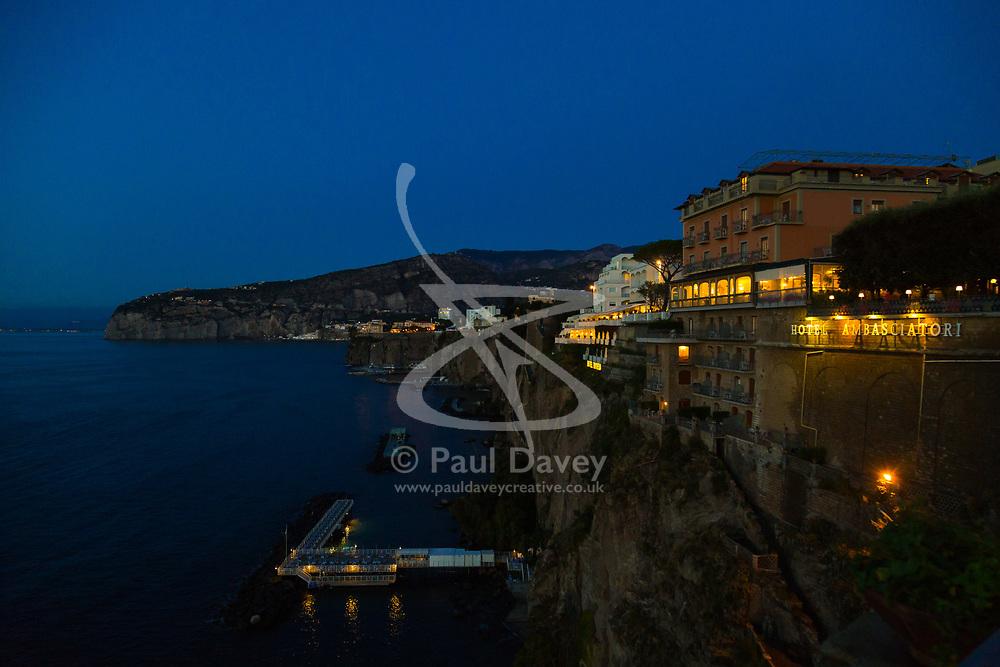 Sorrento, Italy, September 18 2017. Night falls at the Grande Hotel Ambasciatori in Sorrento, Italy. © Paul Davey