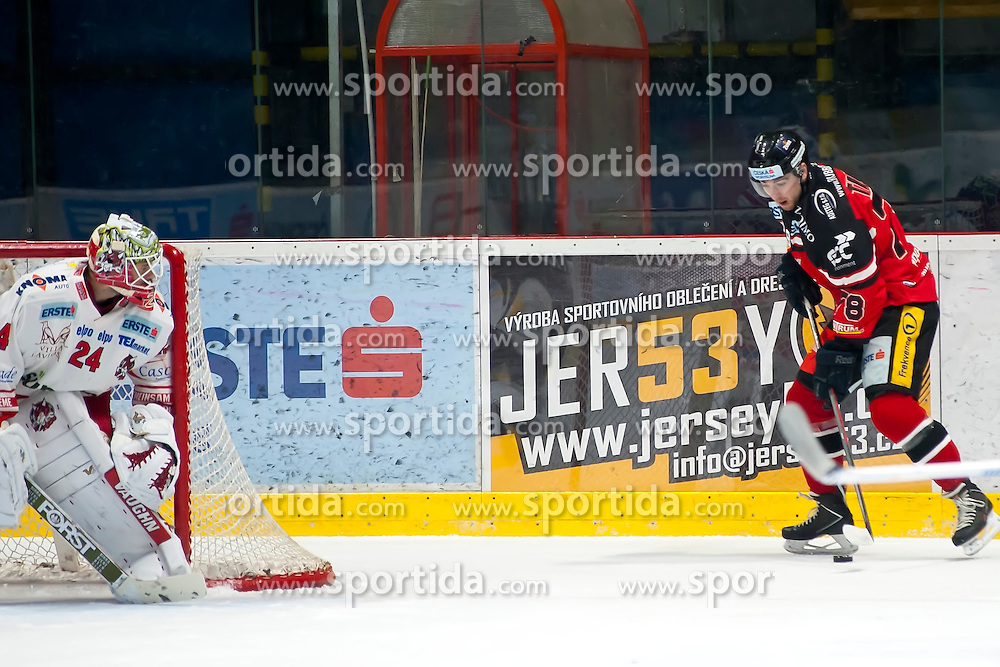 28.12.2015, Ice Rink, Znojmo, CZE, EBEL, HC Orli Znojmo vs HCB Suedtirol, 36. Runde, im Bild v.l. Jaroslav Hubl (HCB Sudtirol) Corey Trivino (HC Orli Znojmo) // during the Erste Bank Icehockey League 36nd round match between HC Orli Znojmo and HCB Suedtirol at the Ice Rink in Znojmo, Czech Republic on 2015/12/28. EXPA Pictures © 2015, PhotoCredit: EXPA/ Rostislav Pfeffer