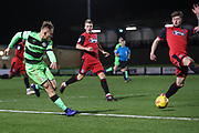 Forest Green Rovers George Williams(11) crosses the ball into the box during the EFL Sky Bet League 2 match between Forest Green Rovers and Grimsby Town FC at the New Lawn, Forest Green, United Kingdom on 22 January 2019.