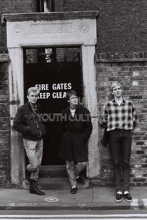 Teenagers outside Soho Parish School, Peter St, Soho, London, UK, 1983