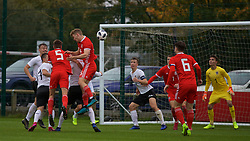 NEWPORT, WALES - Monday, October 14, 2019: Wales' Cameron Evans scores the first goal with a header during an Under-19's International Friendly match between Wales and Austria at Dragon Park. (Pic by David Rawcliffe/Propaganda)