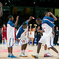 27 August 2011: Kevin Seraphin and Florent Pietrus are seen during the friendly game won 74-44 by France over Belgium, in Lievin, France.