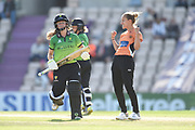 Tash Farrant of Southern Vipers celebrates the wicket of Sophie Luff during the Women's Cricket Super League match between Southern Vipers and Western Storm at the Ageas Bowl, Southampton, United Kingdom on 11 August 2019.