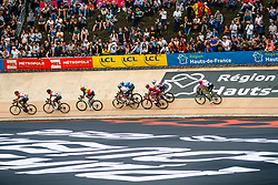 Small peloton on the velodrome during the 2018 Paris-Roubaix race, Velodrome Roubaix, France, 8 April 2018, Photo by Thomas van Bracht / PelotonPhotos.com | All photos usage must carry mandatory copyright credit (Peloton Photos | Thomas van Bracht)