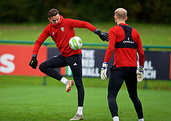 CARDIFF, WALES - Monday, October 15, 2018: Wales' goalkeeper Daniel Ward during a training session at the Vale Resort ahead of the UEFA Nations League Group Stage League B Group 4 match between Republic of Ireland and Wales. (Pic by David Rawcliffe/Propaganda)