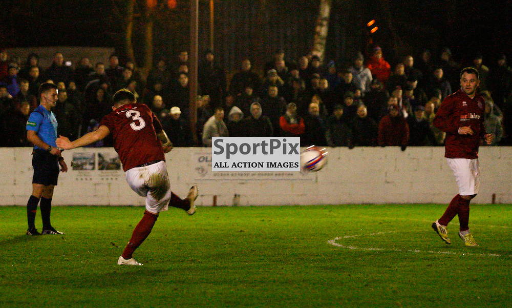 Linlithgow defender Ryan Baptie fires home a wonder strike to give his side a 2-1 lead in the William Hill Scottish Cup tie against Wick tonight at Linlithgow