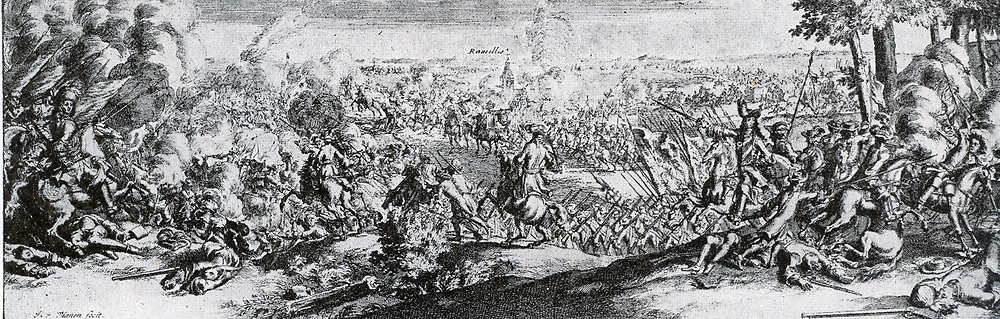 The Battle of Ramillies was a major engagement of the War of the Spanish Succession, fought on 23 May, 1706.  The encounter was a resounding success for the Allied forces of the Dutch Republic, English and their auxiliaries but the battle had followed a year of indecisive campaigning in 1705 where Allied over-confidence and Dutch hesitancy after their success at the Battle of Blenheim had resulted in an abortive campaign along the Moselle, forcing the Duke of Marlborough to abandon his plans for a push into France.