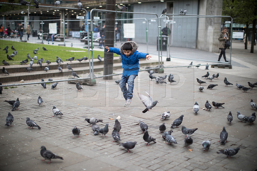 """© Licensed to London News Pictures . 06/04/2017 . Manchester , UK . A boy runs through a flock of pigeons in front of architect Tadao Ando's concrete wall - known locally as """" The Berlin Wall """" -  in Piccadilly Gardens . An epidemic of abuse of the drug spice by some of Manchester's homeless population , in plain sight , is causing users to experience psychosis and a zombie-like state and is daily being witnessed in the Piccadilly Gardens area of Manchester , drawing large resource from paramedic services in the city centre . Photo credit : Joel Goodman/LNP"""