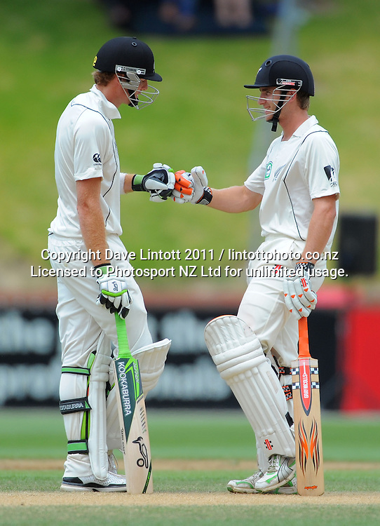 NZ batsmen Martin Guptill and Kane Williamson. 2nd cricket test match - New Zealand Black Caps v Pakistan, day four at the Basin Reserve, Wellington, New Zealand on Tuesday, 18 January 2011. Photo: Dave Lintott / photosport.co.nz