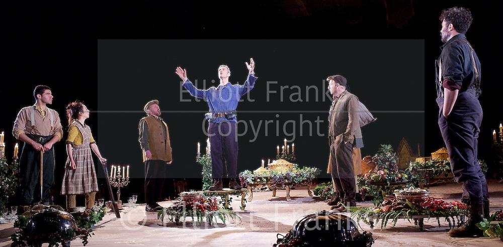 Light Shining in Buckinghamshire <br /> by Caryl Churchill <br /> directed by Lyndsey Turner at the Lyttelton Theatre NT Southbank, London, Great Britain <br /> 22nd April 2015 <br /> <br /> Joshua James <br /> <br /> Nicholas Gleaves<br /> <br /> Trystan Gravelle <br /> <br /> Allan Williams<br /> <br /> Amanda Lawrence<br /> <br /> Ashley McGuire<br /> <br /> Adelle Leonce<br /> <br /> Joe Caffrey <br /> <br /> <br /> Photograph by Elliott Franks <br /> Image licensed to Elliott Franks Photography Services