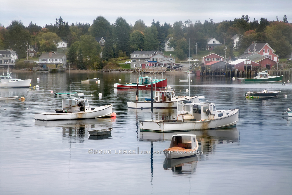 Lobster Boats At Rest On A Misty Morning In Bass Harbor, Mount Desert Island, Acadia National Park, Maine, USA